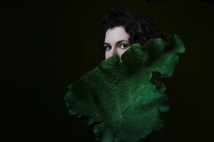 Selfportrait with a leaf
