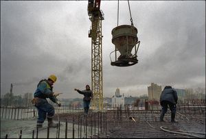 At a construction site, St. Petersburg, Russia, November 2006