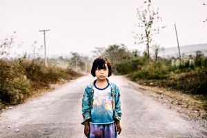 Little girl on the road