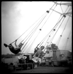 Kids on a Fair Ride in Hamburg, NY