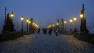 Prague. Morning. The Mysticism of Charles bridge. 15 min before