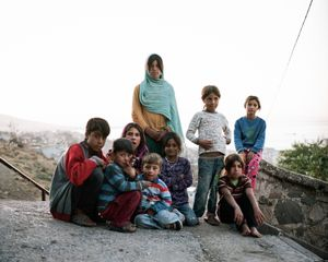 These brothers and sisters just arrived two weeks ago . Their parents are from Rakka city, and were running away from Isis. They are living in Basmane, in an abandonded house without electricity or running water. They are all collecting plastic or are begging on the streets.