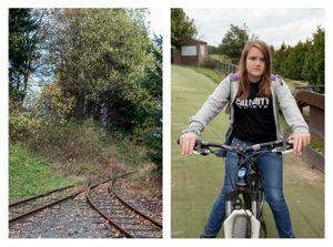 Rails & Girl on bicycle
