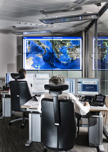 Mission and Task, 2012/2013 Situationroom of the FRONTEX Headquarter in Warsaw, Poland, June, 2014 © Julian Röder