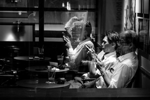 Colleagues enjoy an afterwork drink in Hamamatsucho, Tokyo