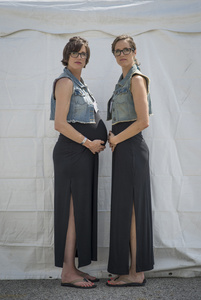 Twins Days 2015. Julie and Lisa  York (31). Julie is expecting a baby.