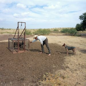 Billy Hollowell with pig trap, JA Ranch, Texas