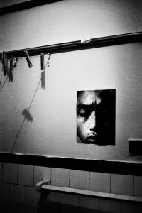 Picture of me on the darkroom wall, New York, 1990 © Jehsong Baak