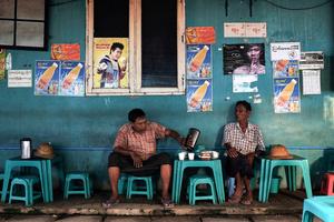 Street side cafe in Yuzana Garden City, Yangon, Myanmar.