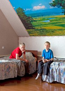Brothers share a room. Petrovka, Omsk Oblast, Russia, 2014