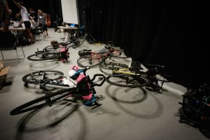 Participants have placed their bicycles behind the registration desk on TCRNo5's starting day
