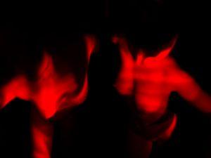 """Don't tell God your plans-04/05""      (laser light bodypainting) -diptych-  www.bertkoeck.com >body>""don't tell God your plans""-series"