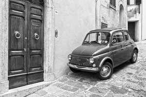The original Fiat 500 is still ideal for negotiating the town's tight, steep thoroughfares