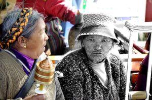 Two Old Pilgrim Women in Lhasa, Tibet.