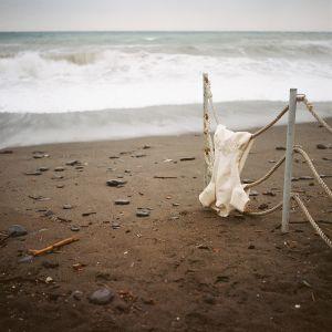 Wedding dress on the beach