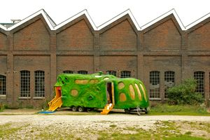 Artefact,  part of the exhibition  'Out of storage' (2011)  in the former carpentry  facility (Timmerfabriek) in Maastricht NL (background). In this facility once packing-cases were made for transporting the ceramics of the nearby Sphinx firm.