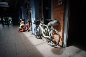 Last minute bicycle work