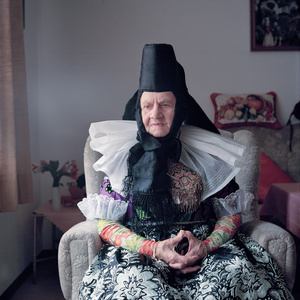 Engel Marie Meier (b. 1921) in her special dress for church at High Christian Holidays, Schaumburger Land, Germany, 2011. From the series: Village Queens. The last women in their traditional peasant garbs