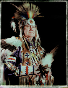 #10, Swedish powwow dancer, Portrait taken at the local powwow convention, bleach Fuji Fp100c, negative scan, Copenhagen, Denmark 2015.