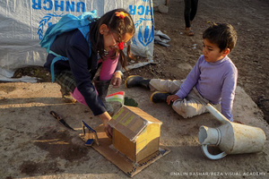 Photograph created as part of the five-year project Exile Voices, launched in December 2013 by Reza to train refugee children in the camps in photography.