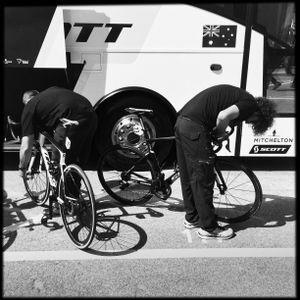 Preparing the bikes