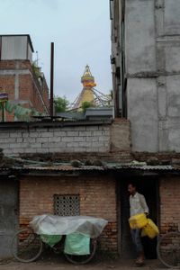 A man on the fringes of the Stupa grounds