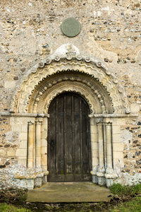 Exquisite Romanesque detailing on a door at St. Margaret's, Hales