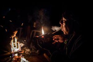 Smoking a cachimba