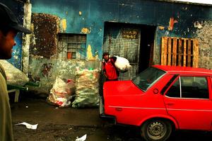 Bogota,Colombia marginal neighborhood where people use recycling as livelihood.