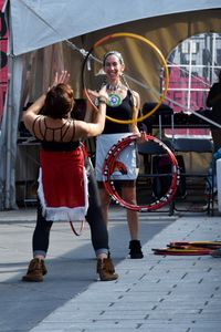 Mohawk hoop dancers rehearsing.