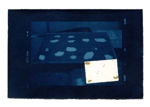 Hidden Memory 01. Cyanotype + collage. 40 x 50 cm