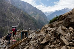 Gumba Villagers are on 6 hours trek and carry relief material to  their village