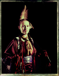#6, German powwow dancer, Portrait taken at the local powwow convention, bleach Fuji Fp100c, negative scan, Kladno, Czech Rep. 2015