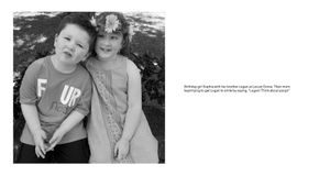 """Radius: Sophia with brother Logan whose mom kept telling him to """"think of poop"""" to get him to smile"""