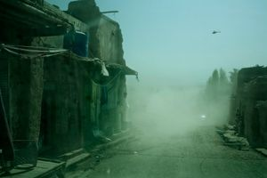 A view from a U.S. Army armoured vehicle as it drives through Jalalabad in Nangarhar Province, Afghanistan on October 4, 2008. © Adam Ferguson