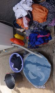 Abstract of  Blue Shades And Colored Laundry.