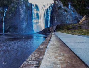 Montmorency waterfall in blue and slow view