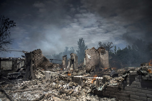A house destroyed during an air attack in the village of Luhanskaya