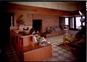 """Living room, Cecil J. Birtcher residence, Los Angeles, 1945. From the photobook """"Modern Photography and the American Dream"""" © Maynard Parker"""