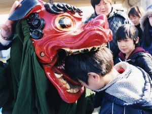 People have restarted to play the traditional lion dance.  After the dance, children are told by their parents to put their heads into the mouth, for this is said to bring them long health and happiness.© Uma Kinoshita
