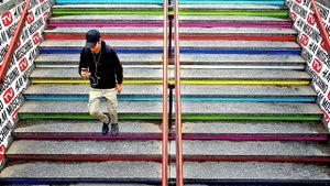 Gradini colorati in metrò. ( Coloured steps in the metrò).