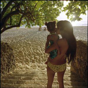 Cristal and her daughter at Sosúa beach