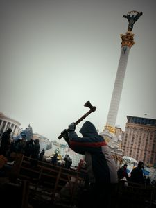 A man with axe (Ukraine, Kiev, February, 2014)