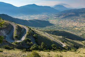 View across the Piana di Navelli toward the Majella mountains from the Gran Sasso d'Italia massif, Abruzzo, Italy