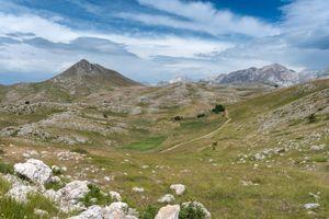View across the Campo Imperatore to the Gran Sasso d'Italia, Abruzzo, Italy