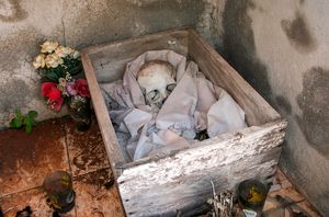 Skeleto in a thomb at the local cemetery
