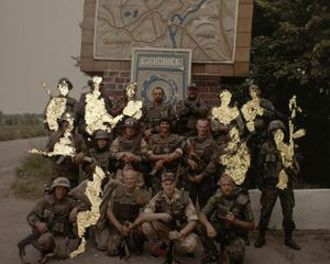 """The squad of nine killed and eight wounded."" From the series of ""Golden collages"", on picture from the cell phone's archive of one of the soldiers, 2015."