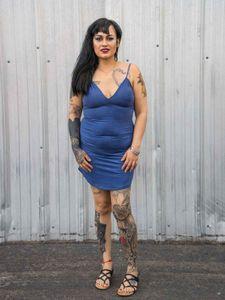 Woman wearing blue dress, Phoenix, 2017
