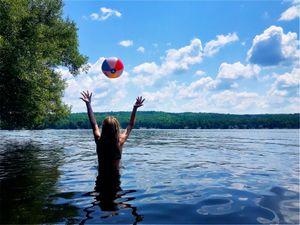girl and beach ball