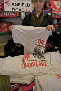 Gift shop with the 'two headed janus' Kelvin McKenzie next to the Hillsborough Justice Campaign office. Anfield Liverpool 13 May 2007.